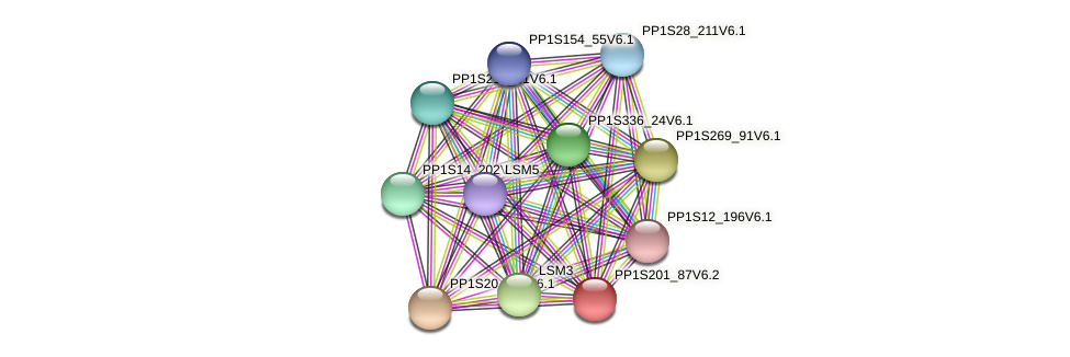 PP1S201_87V6.1 protein (Physcomitrella patens) - STRING interaction network