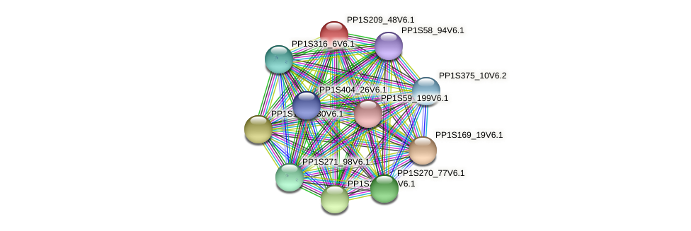 PP1S209_48V6.1 protein (Physcomitrella patens) - STRING interaction network
