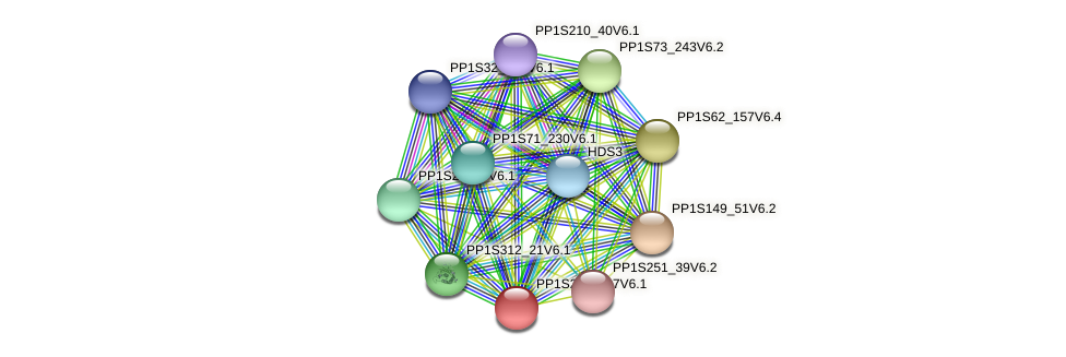 PP1S211_107V6.1 protein (Physcomitrella patens) - STRING interaction network