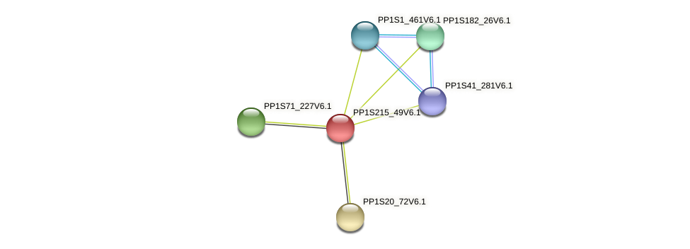 PP1S215_49V6.1 protein (Physcomitrella patens) - STRING interaction network