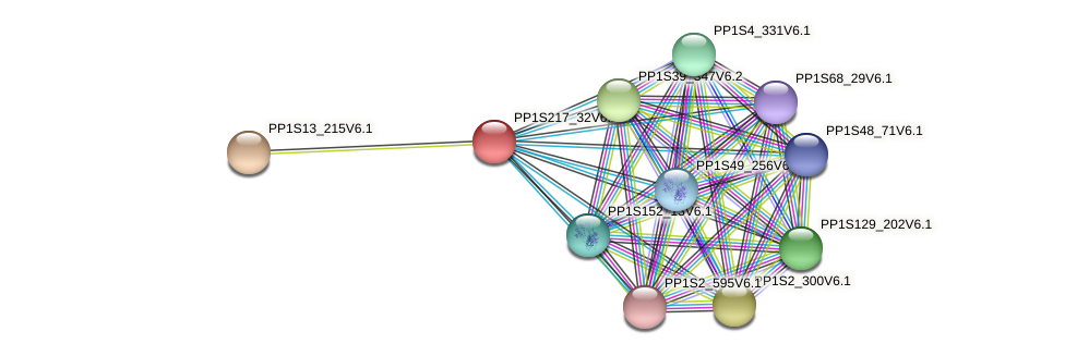 PP1S217_32V6.1 protein (Physcomitrella patens) - STRING interaction network