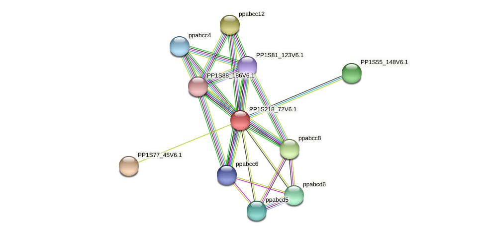 PP1S218_72V6.1 protein (Physcomitrella patens) - STRING interaction network