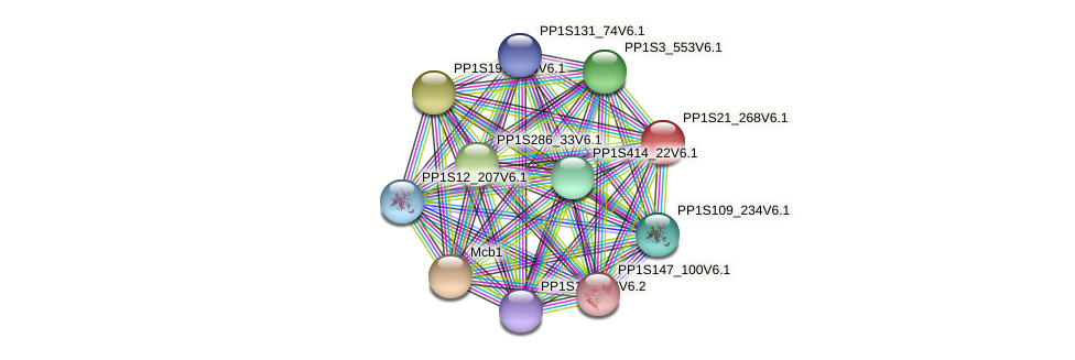 PP1S21_268V6.1 protein (Physcomitrella patens) - STRING interaction network