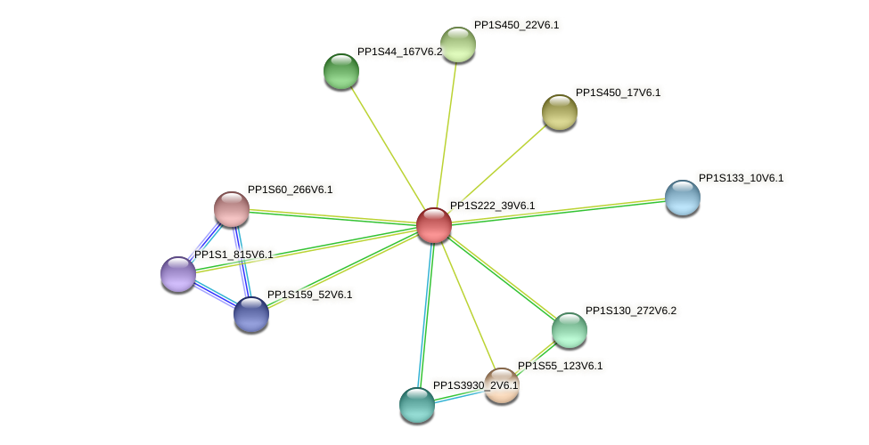 PP1S222_39V6.1 protein (Physcomitrella patens) - STRING interaction network