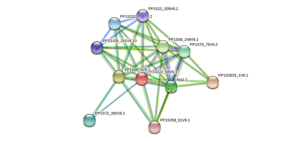 PP1S222_68V6.1 protein (Physcomitrella patens) - STRING interaction network