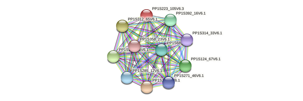 PP1S223_105V6.3 protein (Physcomitrella patens) - STRING interaction network