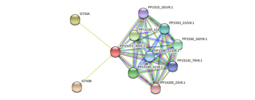 PP1S223_30V6.1 protein (Physcomitrella patens) - STRING interaction network