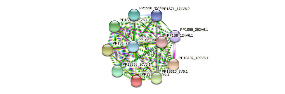 PP1S22_311V6.1 protein (Physcomitrella patens) - STRING interaction network
