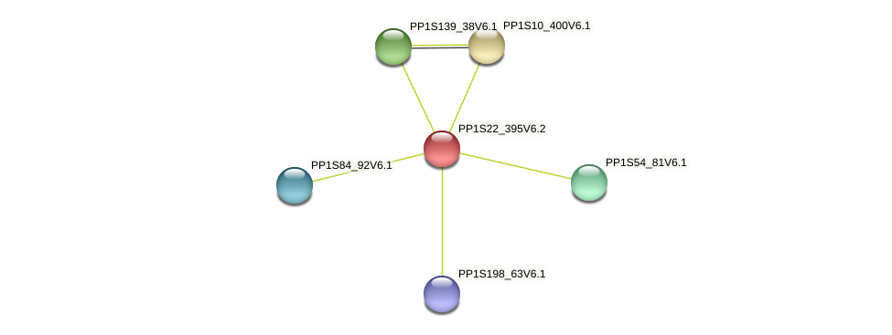 PP1S22_395V6.1 protein (Physcomitrella patens) - STRING interaction network
