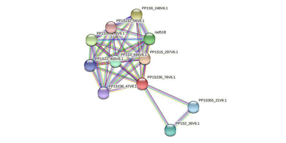 PP1S236_78V6.1 protein (Physcomitrella patens) - STRING interaction network