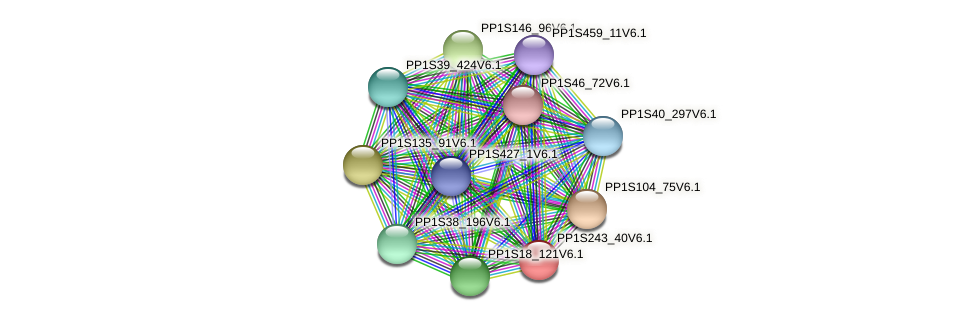 PP1S243_40V6.1 protein (Physcomitrella patens) - STRING interaction network