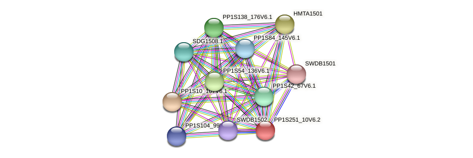 PP1S251_10V6.2 protein (Physcomitrella patens) - STRING interaction network