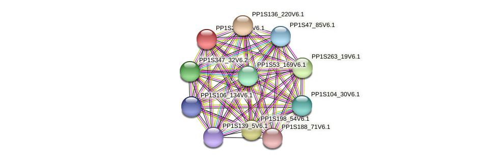 PP1S256_35V6.1 protein (Physcomitrella patens) - STRING interaction network