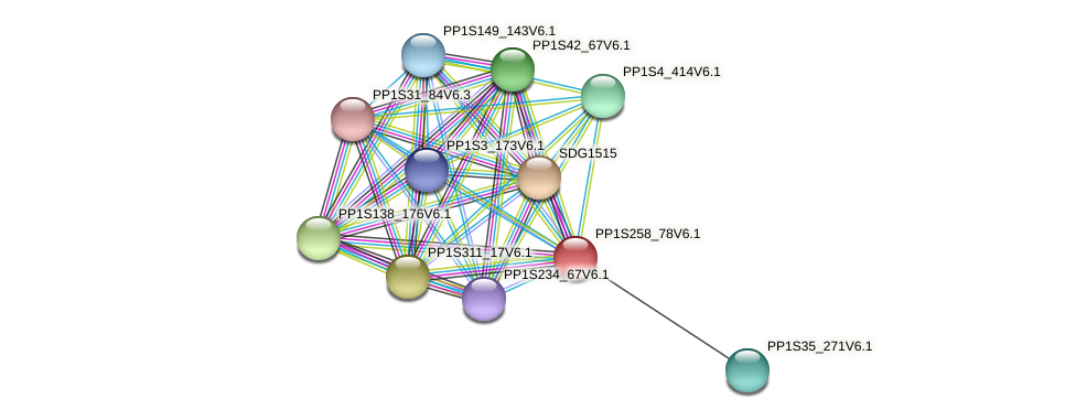 PP1S258_78V6.1 protein (Physcomitrella patens) - STRING interaction network