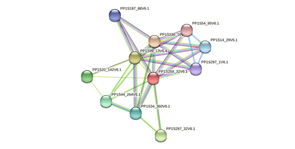 PP1S259_32V6.1 protein (Physcomitrella patens) - STRING interaction network