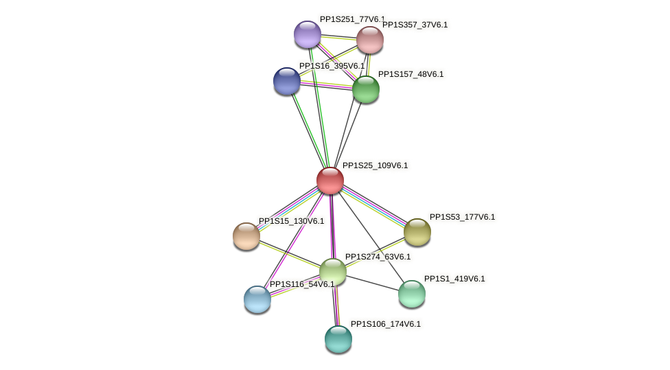 PP1S25_109V6.1 protein (Physcomitrella patens) - STRING interaction network