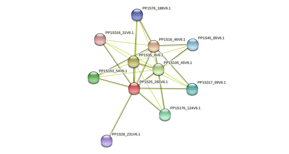 PP1S25_265V6.1 protein (Physcomitrella patens) - STRING interaction network