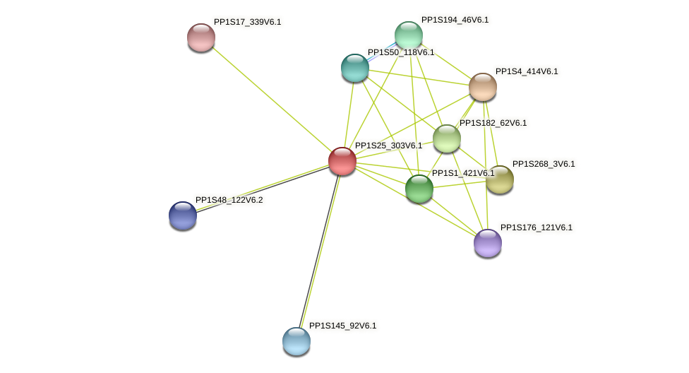 PP1S25_303V6.1 protein (Physcomitrella patens) - STRING interaction network
