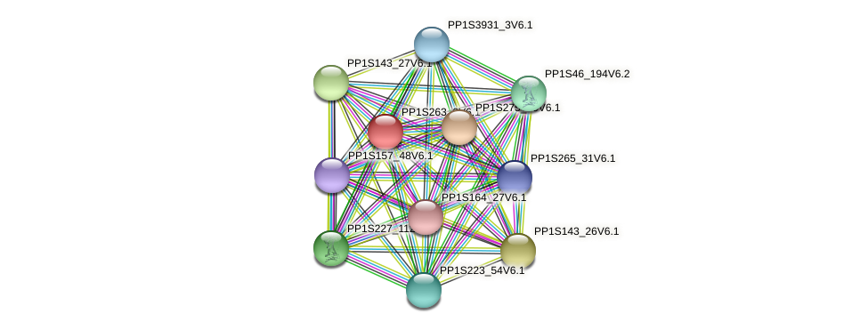 PP1S263_2V6.1 protein (Physcomitrella patens) - STRING interaction network