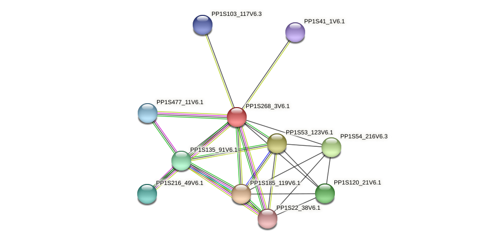 PP1S268_3V6.1 protein (Physcomitrella patens) - STRING interaction network
