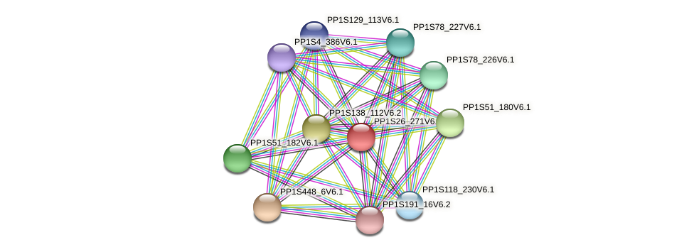 PP1S26_271V6.1 protein (Physcomitrella patens) - STRING interaction network