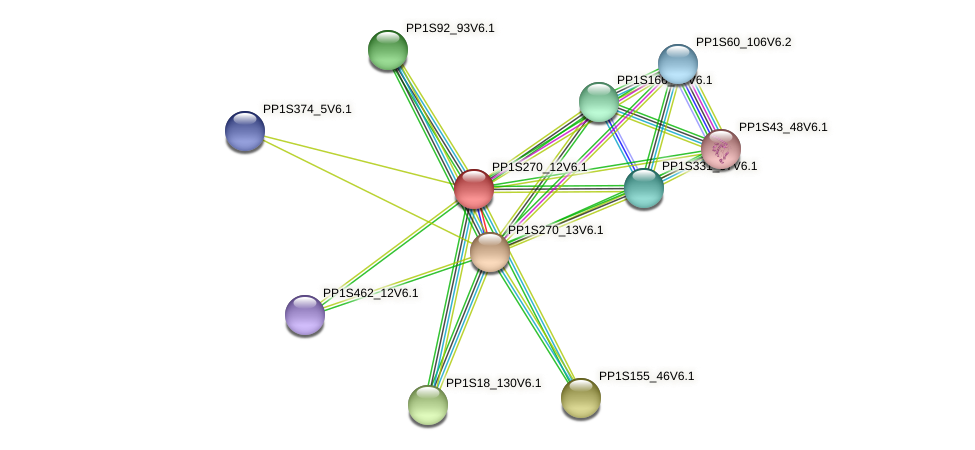PP1S270_12V6.1 protein (Physcomitrella patens) - STRING interaction network