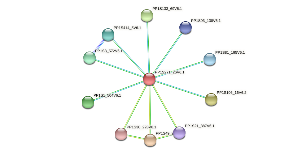 PP1S271_26V6.1 protein (Physcomitrella patens) - STRING interaction network