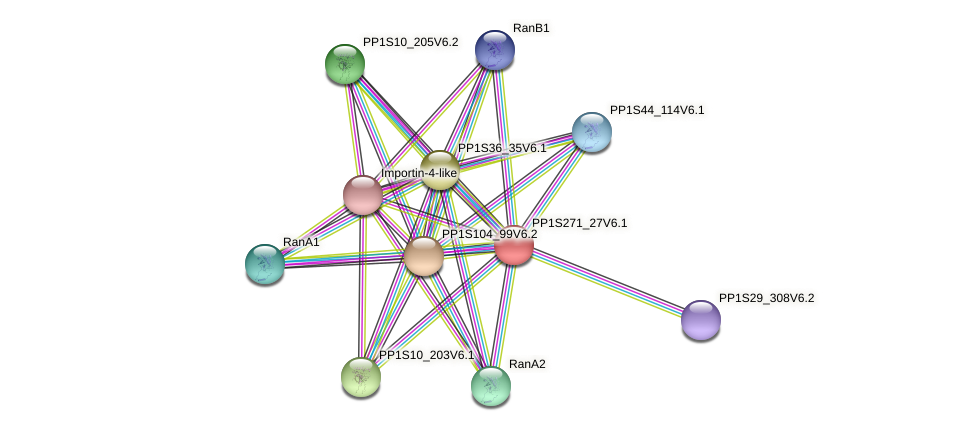 PP1S271_27V6.1 protein (Physcomitrella patens) - STRING interaction network