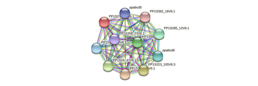 PP1S271_46V6.1 protein (Physcomitrella patens) - STRING interaction network