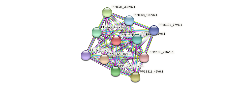 PP1S271_80V6.1 protein (Physcomitrella patens) - STRING interaction network