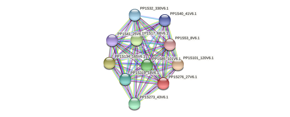 PP1S276_27V6.1 protein (Physcomitrella patens) - STRING interaction network