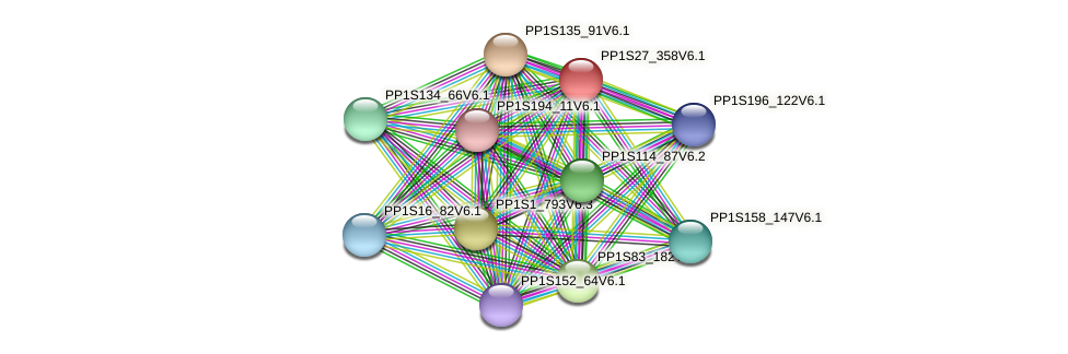 PP1S27_358V6.1 protein (Physcomitrella patens) - STRING interaction network