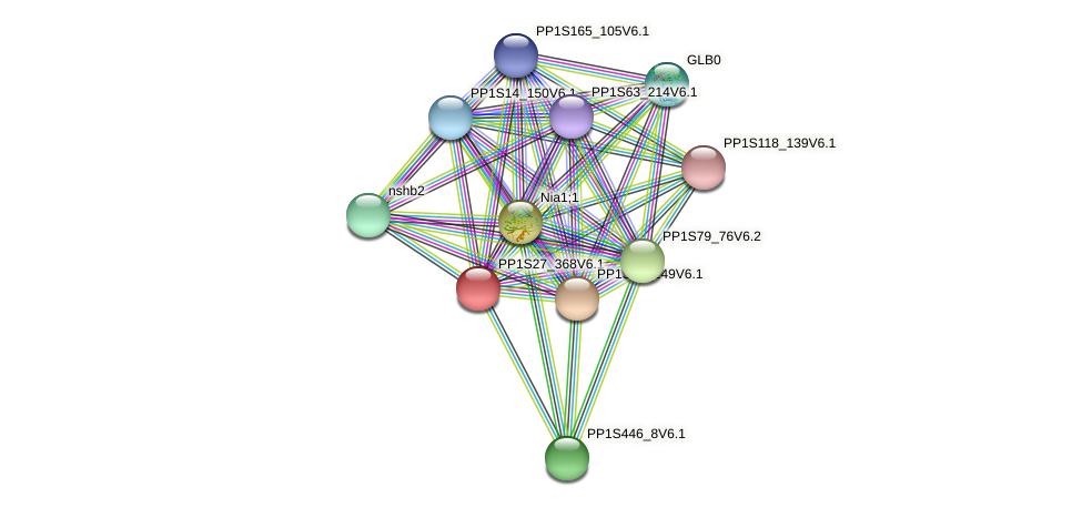 PP1S27_368V6.1 protein (Physcomitrella patens) - STRING interaction network