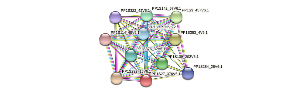 PP1S27_376V6.1 protein (Physcomitrella patens) - STRING interaction network