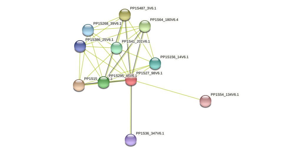 PP1S27_98V6.1 protein (Physcomitrella patens) - STRING interaction network
