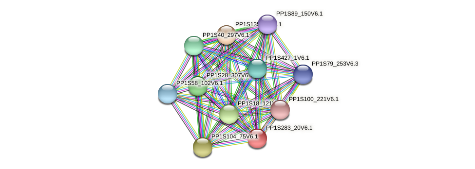 PP1S283_20V6.1 protein (Physcomitrella patens) - STRING interaction network