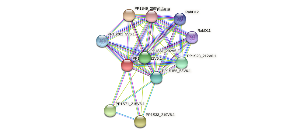 PP1S285_32V6.1 protein (Physcomitrella patens) - STRING interaction network
