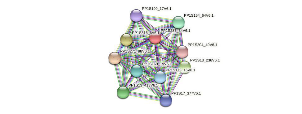 PP1S287_34V6.1 protein (Physcomitrella patens) - STRING interaction network