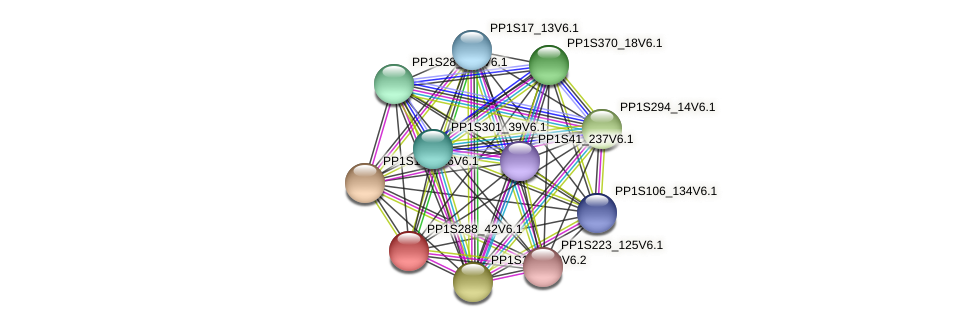 PP1S288_42V6.1 protein (Physcomitrella patens) - STRING interaction network