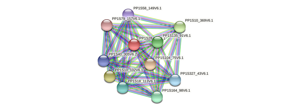 PP1S28_15V6.1 protein (Physcomitrella patens) - STRING interaction network
