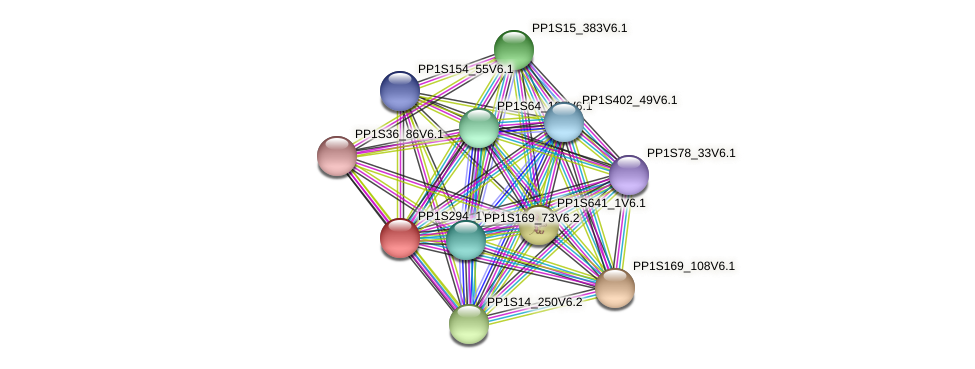 PP1S294_1V6.1 protein (Physcomitrella patens) - STRING interaction network
