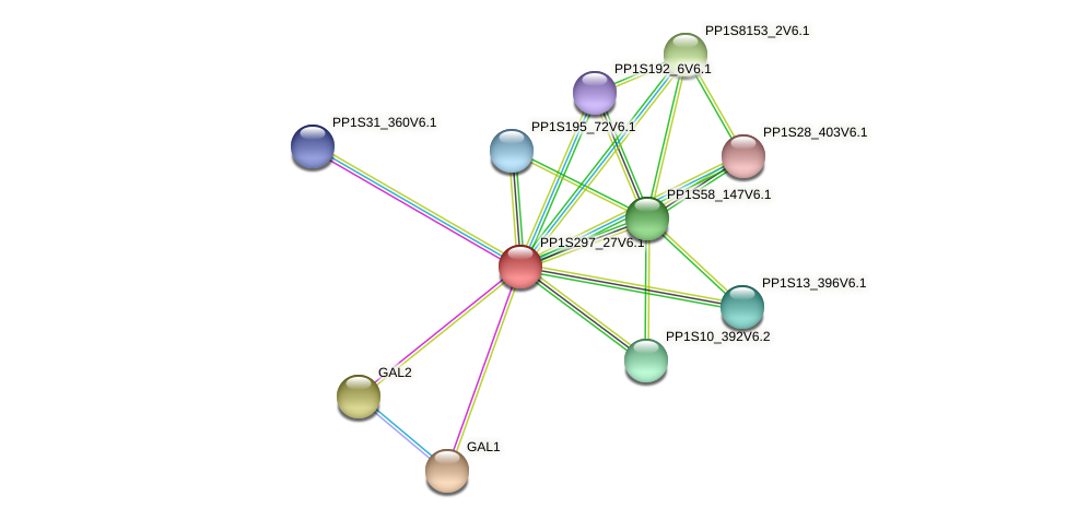 PP1S297_27V6.1 protein (Physcomitrella patens) - STRING interaction network
