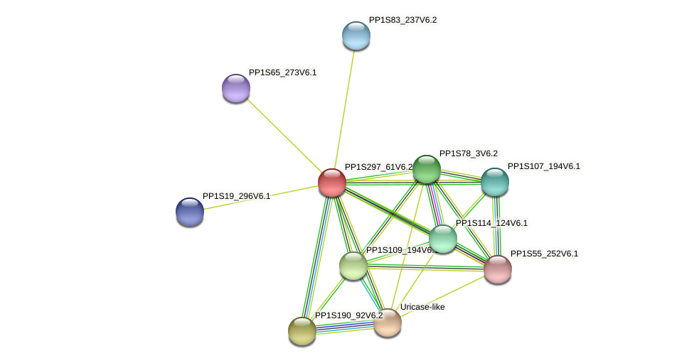 PP1S297_61V6.1 protein (Physcomitrella patens) - STRING interaction network
