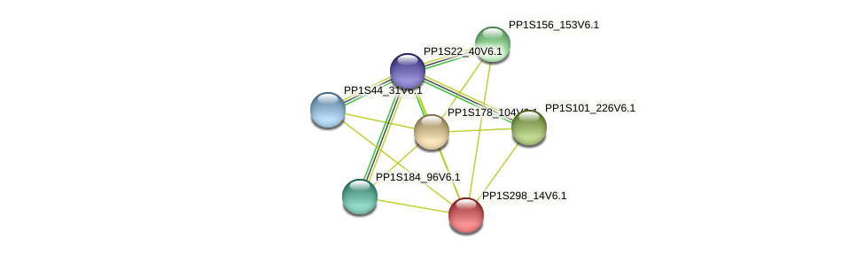 PP1S298_14V6.1 protein (Physcomitrella patens) - STRING interaction network