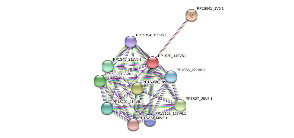 PP1S29_140V6.1 protein (Physcomitrella patens) - STRING interaction network