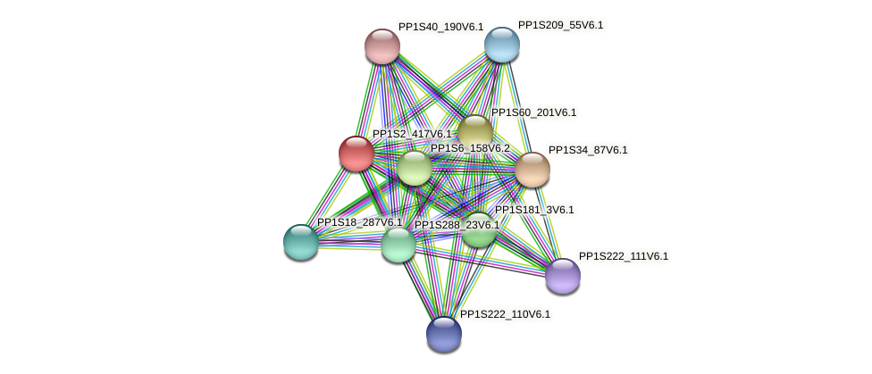 PP1S2_417V6.1 protein (Physcomitrella patens) - STRING interaction network