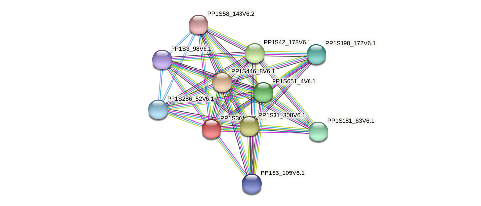 PP1S301_40V6.1 protein (Physcomitrella patens) - STRING interaction network