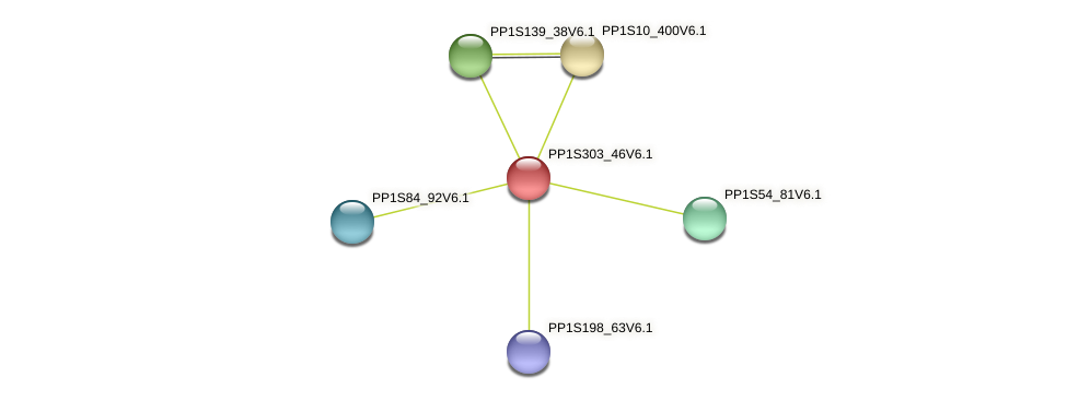 PP1S303_46V6.1 protein (Physcomitrella patens) - STRING interaction network