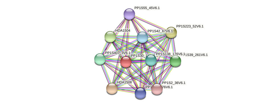 PP1S30_113V6.1 protein (Physcomitrella patens) - STRING interaction network