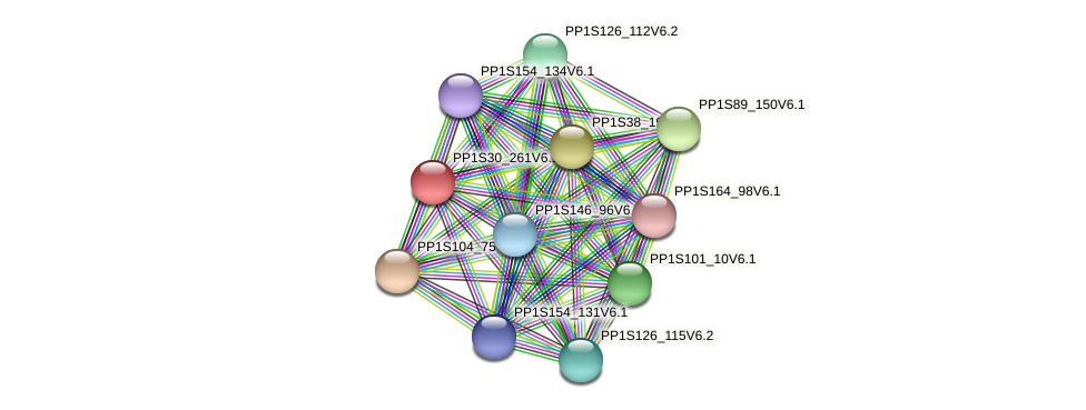 PP1S30_261V6.1 protein (Physcomitrella patens) - STRING interaction network